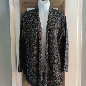 NWT Long Sleeve Marled Sweater Cardigan Curved Hem